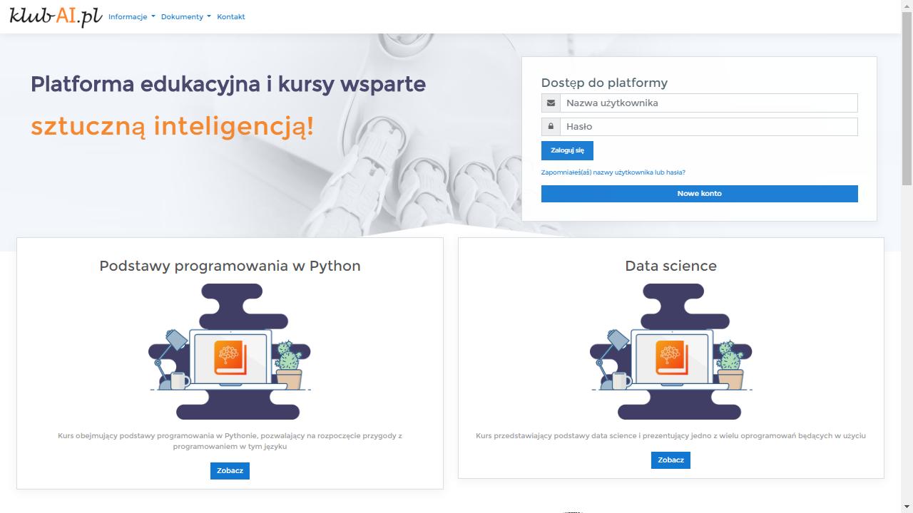 Platforma z modułem sztucznej inteligencji klubai.pl