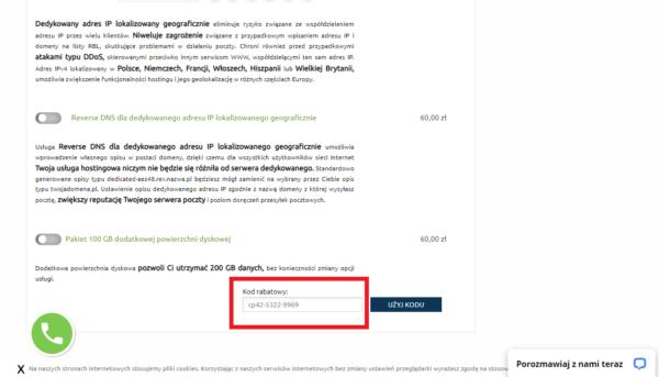 Widok koszyka. wpisywanie kodu uprawniającego do zniżki na usługi hostingowe nazwa.pl